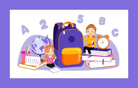 Concept Of Back To School. Set Of Kids Ready To Study In New Academic Year. Happy Classmates Boy And Girl Sitting Near Huge School Items Backpack, Books, Globe. Cartoon Flat Style Vector Illustration.
