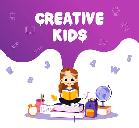 Concept Of Back To School And Creative Kids. Clever Girl Sitting On School Items In Surroundings Backpack And Globe And Reading The Book, Making Home task. Cartoon Flat Style. Vector Illustration.