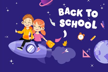 Concept Of Back To School. Kids Hurrying To Study In New Academic Year. Happy Classmates Boy And Girl Flying On Rocket Together Holding Backpack And Books In Hands. Cartoon Flat Vector Illustration. 向量圖像