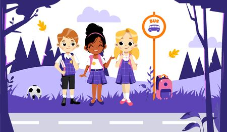 Back To School Concept. Kids Ready To Study In New Academic Year. Self Confident Classmates In Stylish School Uniform Boy And Girl Waiting For School Bus On Bus Stop. Cartoon Flat Vector Illustration.