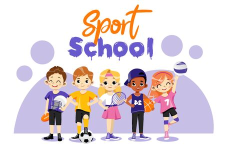 Back To School Concept. Multi Ethnic Teens Set. Different Type Of Sports. Happy Children In Uniform Play Basketball, Tennis Baseball, Volleyball And Football. Cartoon Flat Style. Vector Illustration.