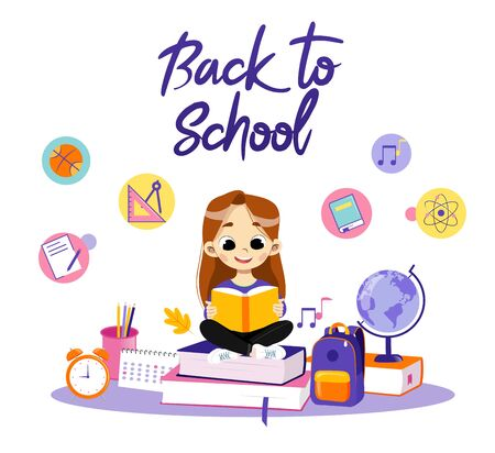 Concept Of Back To School. Clever Girl Sitting Among School Items In Surroundings Backpack And Globe, Calendar, Alarm And Reading The Book, Making Home task. Cartoon Flat Style. Vector Illustration.