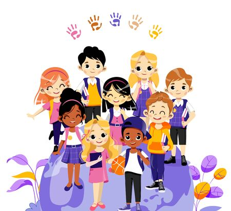 Concept Of Back To School. Group Of School Children Or Students Standing Together. Smiling Teens Boys and Girls With Backpacks, Books And Sports Equipment. Cartoon Flat Style. Vector Illustration.