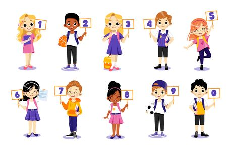 Concept Of Back To School. Kids Ready To Study In New Academic Year. Classmates Boys And Girls Standing In A Row Together Holding Plates With Numbers From 0 To 9. Cartoon Flat Vector Illustration.