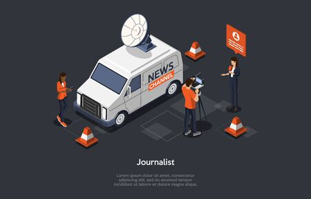 Concept Of Breaking Latest News. News Update, Online News. Characters Are Filming Reportage. Reporters Publishing True News Based On Information From Journalists. Isometric 3D Vector Illustration