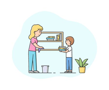 Concept Of Parenting And Cleaning Apartments. Happy Mother Make Wet Cleaning Of Apartment With Little Son. Characters Wipe Dust On Bookshelf. Cartoon Linear Outline Flat Style. Vector Illustration