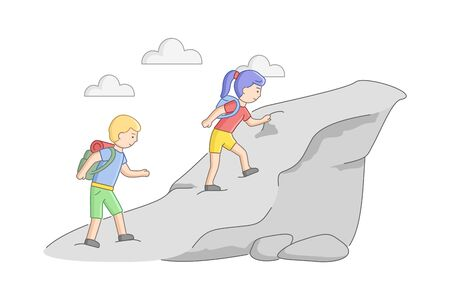 Weekend Hiking And Camping Concept. Couple Of Young Tourists With Backpacks Climb The Mountain. Male And Female Characters Alpinists in Anticipation Of Adventures. Cartoon Flat Vector Illustration