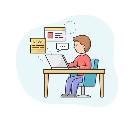 Breaking News Concept. Male Character Sitting At The Desk And Reading Fresh World News On Computer. Busy Man Monitoring Information In Social Media. Cartoon Linear Outline Flat Vector Illustration  イラスト・ベクター素材