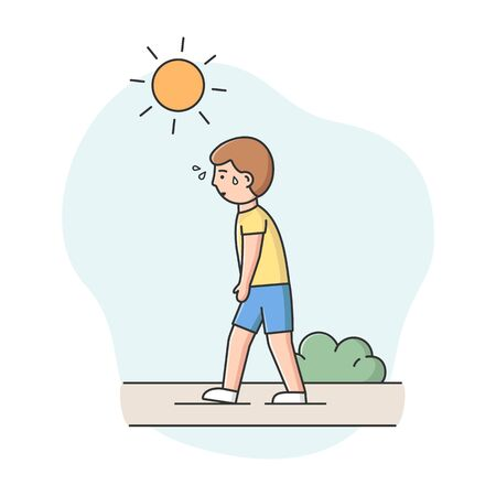 Concept Of Summer Hot Period. Man Weary From Heat Is Walking Down The Street In The Park Under the Scorching Sun, Sweating, In Hot Summer Day. Cartoon Linear Outline Flat Style. Vector Illustration