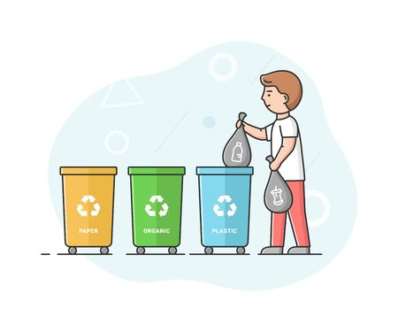 Concept Of Zero Waste, Recycling Technology And Save Planet. Man Is Sorting Waste And Put It Into Appropriate Container For Further Recycling. Cartoon Linear Outline Flat Style. Vector Illustration