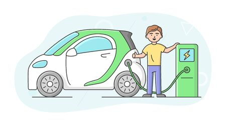 Ecological Modes Of Transport Concept, Ways Of Saving Planet And Healthy Lifestyle. Cheerful Boy Charging Electric Car At The Fuel Station. People Use Eco Transport. Cartoon Flat Vector Illustration.