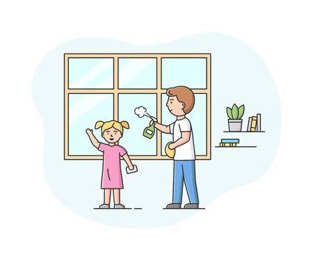 Concept Of Parenting And Joint Family Cleaning. Happy Father Makes Wet Cleaning Of Apartment With Little Daughter. Characters Clean Windows. Cartoon Linear Outline Flat Style. Vector Illustration. Ilustracja