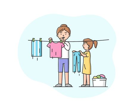 Concept Of Parenting And Family Joint Housework. Happy Mother Washing And Hang Up Clothes For Drying. Daughter Helps Mother Around The House. Cartoon Linear Outline Flat Style. Vector Illustration.