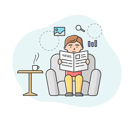 Breaking News Concept. Male Character Sitting In Armchair And Reading Fresh World News. Man Drink Morning Coffee And Reading Fresh Newspaper. Cartoon Linear Outline Flat Style. Vector Illustration.