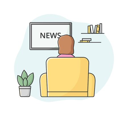 Breaking News Concept. Female Character Sitting In Armchair And Watching Fresh World News On TV. Woman Find Out New Information In The World. Cartoon Linear Outline Flat Style. Vector Illustration.