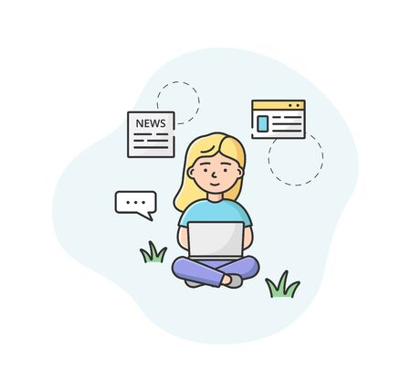 Breaking News Concept. Female Character Sitting On The Floor And Reading Fresh World News On Laptop. Woman Find Out New Information In The World. Cartoon Linear Outline Flat Style Vector Illustration