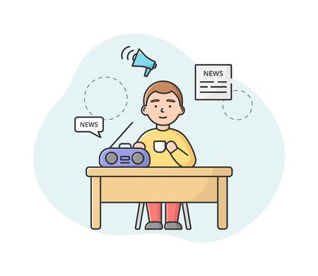 Breaking News Concept. Male Character Sitting At The Desk, Drinking Morning Coffee And Listening News On Radio. Man Monitoring Information In World. Cartoon Linear Outline Flat Vector Illustration  イラスト・ベクター素材