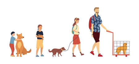 Concept Of Friendship Between Animals And People. Group Of People With Children With Their Domestic Animals. Kind People Take Care Of Pets. Man Carrying Dog In Cage. Cartoon Flat Vector Illustration Ilustrace