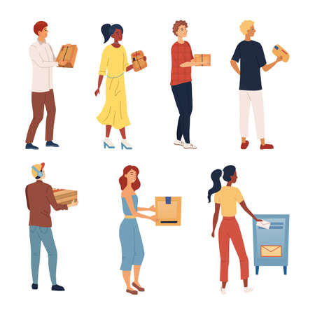 People Wait In A Queue To Send Packages And Letters. Set Of Characters Pick up, Send Parcels. Mail Delivery Service, Postage Transportation, Profession, Occupation. Cartoon Flat Vector Illustration 일러스트