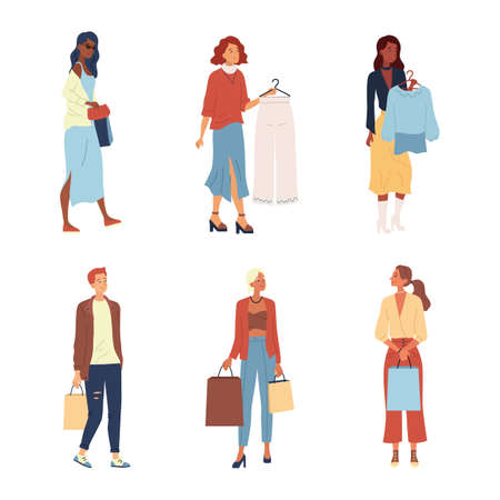 Shopping Concept. Fashion People, Buyers Or Customers With Trendy Fashion Clothes. Characters Make Purchases. Men And Women Holding Clothes And Bags With Purchases. Cartoon Flat Vector illustration