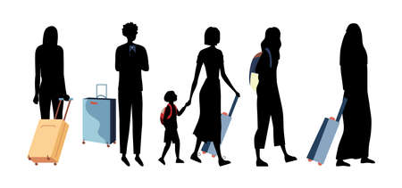 Black Silhouettes Of People of Different Nations With Luggage In Airport Terminal. Group Of Business People, Tourists With Children With Suitcases Go On Vacations. Cartoon Flat Vector Illustration