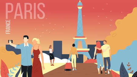 Concept Of Travelling To Paris, France Cityscape with Landmarks. Men And Women Book Tours, Enjoy the View Of Eiffel, Make Selfie, Have A Good Time Together. Cartoon Flat Style. Vector Illustration