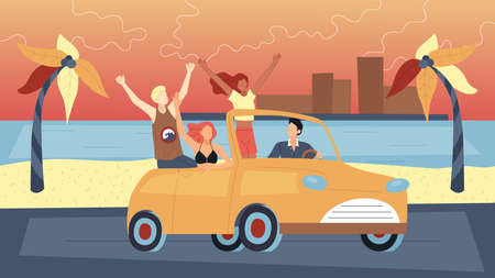 Concept Of Summer Holidays. Happy Friends Travelling By Car On Summer Vacations. People Enjoy Driving Cabriolet. Male And Female Characters Travel Together. Cartoon Flat Style. Vector Illustration Ilustração