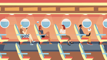 Passengers International Flights Concept. Male And Female Characters Sitting In The Plane And Flying On Vacations. Modern Airplane Board Interior With People. Cartoon Flat Style. Vector Illustration