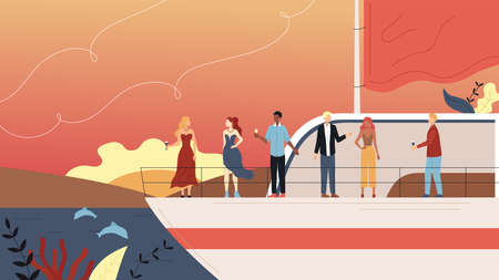 Vacations On Cruise Ship Concept. Smiling People Making Party on Yacht Ferry Ship, Drink Alcohol. Ocean Vacations, Sea Travel and Friendship With VIP Persons. Cartoon Flat Style. Vector Illustration 向量圖像