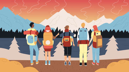 Hiking And Camping Concept. Group Of Tourists With Backpacks And Hike Professional Equipment. Male And Female Characters Stand In A Row Admiring Mountains Landscape. Cartoon Flat Vector Illustration Ilustração