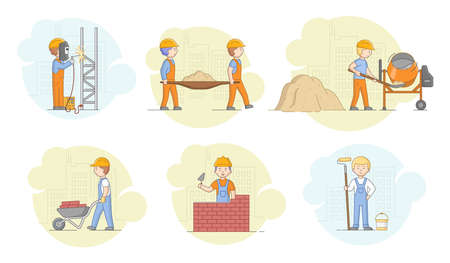 Construction Concept. Workers Working In Protective Uniform And Helmets Men Welding Metalworks, Prepare Concrete, Building Residental District. Cartoon Linear Outline Flat Style. Vector Illustration Illustration