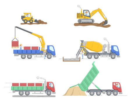Construction Concept. Set Of Different Construction Truks And Equipment For Differend Work. Construction Machinery Operator Jobs. Characters At Work. Cartoon Linear Outline Flat Vector Illustration