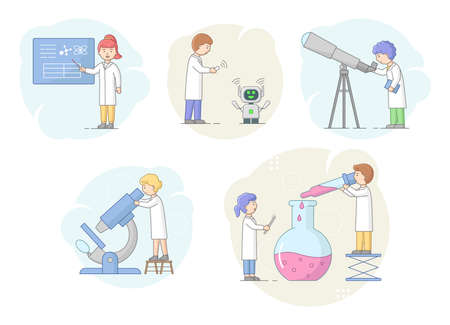Biochemistry And Science Concept. Scientists Make Research In Laboratory Using Professional Equipment. Man Coding Robot And Adapt It To Life Standarts. Cartoon Linear Outline Flat Vector Illustration Çizim