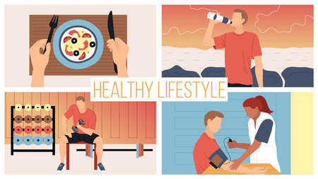 Concept Healthy Lifestyle And Active Sport. Young Man Following The Diet And Health, Measures Pressure, Do Exercising In Gym With Dumbbells, Eat Healthy Food. Cartoon Flat Style. Vector Illustration.