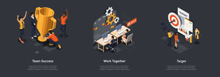 Concept Of Teamwork, Partnership And Goal Achieving. Group Of Business People Working On New Business Projects, Identifying And Reach Goals Together Working In Team. Isometric 3D Vector Illustration