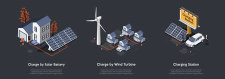 Concept Of Eco City. People Use Alternative Energy Sources. Friendly Renewable Energy Saving. Solar Panels, Windmill Turbines For Home Produce Energy And Charge Cars. Isometric 3D Vector Illustration.  イラスト・ベクター素材