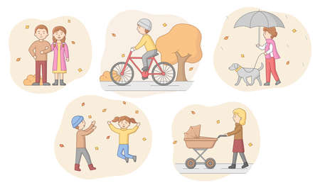 Autumn Concept. People In Warm Clothes Walking In The Park, Riding Bicycle, Walking With Dog And With Baby In Pram And Enjoy Autumn Weather. Cartoon Linear Outline Flat Style Vector Illustrations Set.