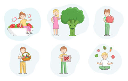 Concept Of Vegetarianism. Set Of Scenes With People Eating Healthy Food. Characters Eat Fruits And Vegetables. People Against Animal Products Eating. Cartoon Linear Outline Flat Vector Illustration. Illustration