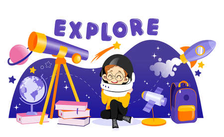 Concept Of Astronomy And Back To School. Boy Astronomer interested In Science. Boy In Space Helmet Is Sitting Near Big Telescope In Surrounding Rocket With Planets. Cartoon Flat Vector Illustration.