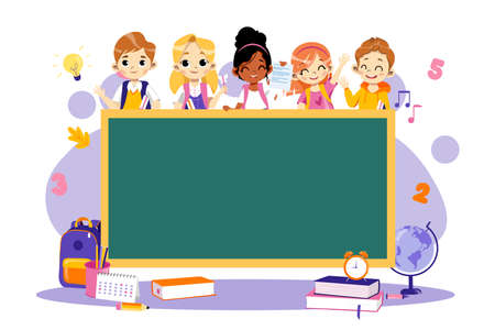 Back To School Concept. Multi Ethnic Group Of Students Around The Blackboard. Classroom With Chalkboard, School Theme Infographic, Happy Smiling Classmates. Cartoon Flat style. Vector illustration. Vector Illustratie