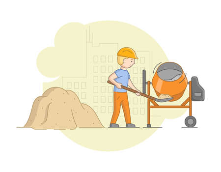 Construction And Heavy Labor And Cement Work Concept. Worker In Protective Uniform And Helmet Mixing Concrete With Mixer. Construction Worker At Work. Cartoon Linear Outline Flat Vector Illustration.