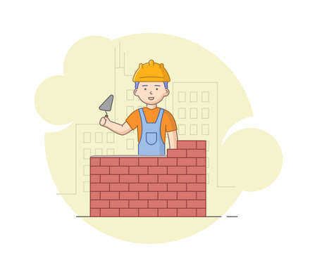 Construction, Heavy Labor Works Concept. Worker In Protective Uniform And Helmet Building Brick Wall With Trowel In Hands. Construction Worker At Work. Cartoon Linear Outline Flat Vector Illustration.