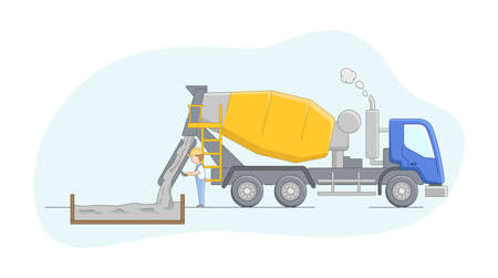Construction Concept. Concrete Mixer Driver At Work. Worker Controls Concreting Process. Construction Machinery Operator Jobs. Male Character At Work. Cartoon Linear Outline Flat Vector Illustration.