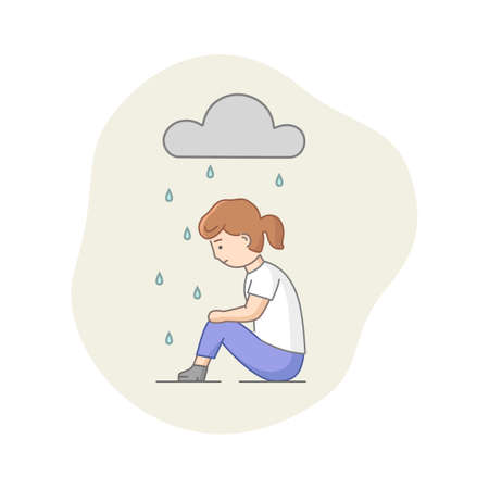 Depression Concept. Female Character Suffering From Depression. Sad Woman Sitting Under The Rain. Overcast Weather, Emotions Concealment And Burnout. Cartoon Linear Outline Flat Vector Illustration.