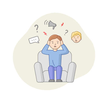 Depression Concept. Male Character Suffers From Depression. Puzzled Man Sitting In Armchair With Lots Of Thought In Head. Stress, Emotions Concealment. Cartoon Linear Outline Flat Vector Illustration.