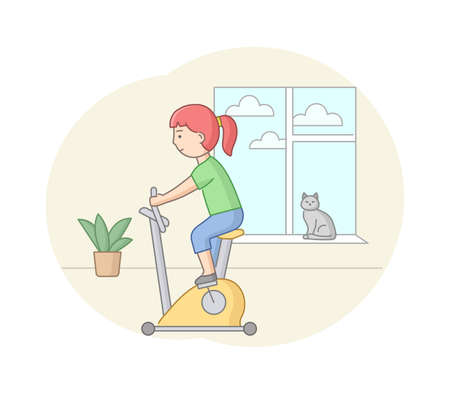 Fitness Concept, Health, Body Care And Active Sport. Female Character Is Exercising In Gym Or At Home On Exercise Equipment. Young Woman Is Pedaling. Linear Outline Flat Style. Vector Illustration.