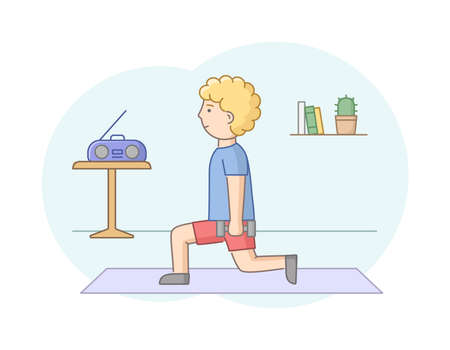 Fitness Concept, Health Care And Active Sport. Male Character Is Exercising In Gym Or At Home With Music. Young Man Do Strength Training With Dumbbells. Linear Outline Flat Style. Vector Illustration. Ilustración de vector