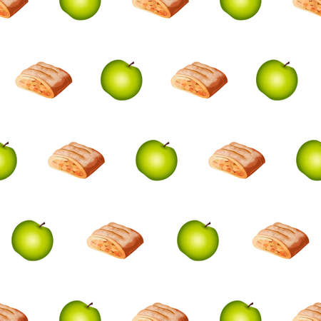 Beautiful Seamless Pattern With Many Whole Apples, Strudels On Grey Background. Abstract Calm Colors. Modern Design For Background. Cute Green Sweet Tasty Pies. Cartoon Flat Style Vector Illustration