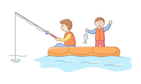 Concept Of Fishing And Fatherhood. Cheerful Fisherman Is Fishing From Boat On The Lake. Father And Son Have A Good Time Together On Vacations. Cartoon Linear Outline Flat Style. Vector Illustration