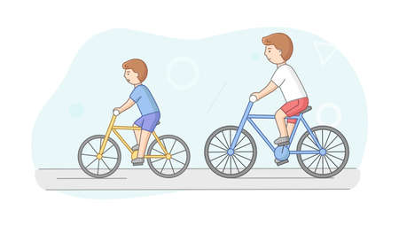 Weekend Time Leisure, Fatherhood And Friendship Concept. People Riding Bicycle In Park. Father And Son Or Friends Lead Active Lifestyle. Weekend Active Time. Cartoon Flat Style. Vector Illustration Vettoriali